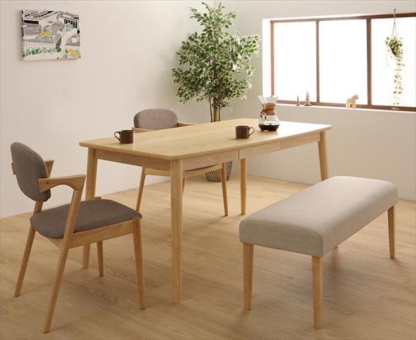 北欧スタイルダイニング OLIK オリック 4点セット(テーブル+チェア2脚+ベンチ1脚) W150 ダイニング4点セット テーブル150cm 便利な引き出し付き 木製 デザインチェア かっこいいチェア ベンチ
