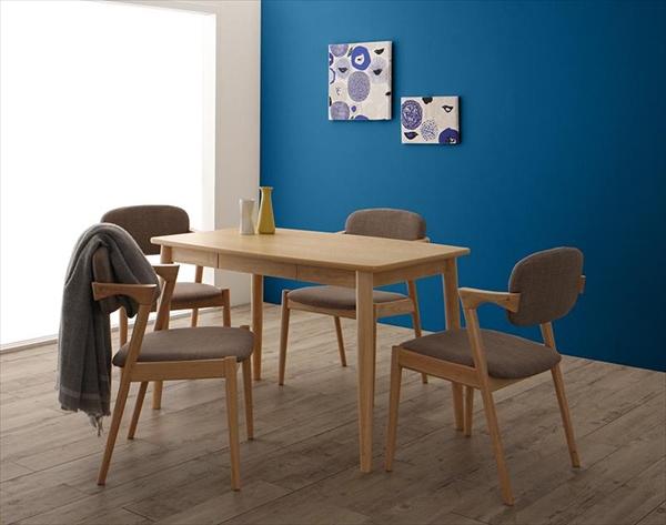 北欧スタイルダイニング OLIK オリック 5点セット(テーブル+チェア4脚) W115 ダイニング5点セット テーブル115cm 便利な引き出し付き 木製 デザインチェア かっこいいチェア