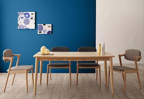 北欧スタイルダイニング OLIK オリック 5点セット(テーブル+チェア4脚) W150  ダイニング5点セット テーブル150cm 便利な引き出し付き 木製 デザインチェア かっこいいチェア