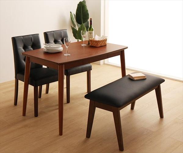 さっと拭ける PVCレザーダイニング fassio ファシオ 4点セット(テーブル+チェア2脚+ベンチ1脚) W115  ダイニング4点セット ダイニングテーブル115cm 天然木 木製 レザーチェア ベンチ いす