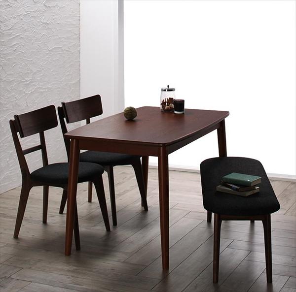 モダンデザインダイニング Le qualite ル・クアリテ 4点セット(テーブル+チェア2脚+ベンチ1脚) W115 ダイニング4点セット テーブル115cm 引き出し付き 木製 デスクとして チェア いす ベンチ