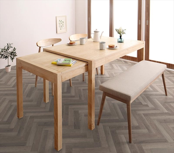 期間限定 北欧デザイン スライド伸縮テーブル ダイニングセット SORA ソラ 4点セット(テーブル+チェア2脚+ベンチ1脚) W135-235  「北欧 天然木 伸縮式テーブル エクステンションダイニング4点セット テーブル 伸縮自在 らくらく」