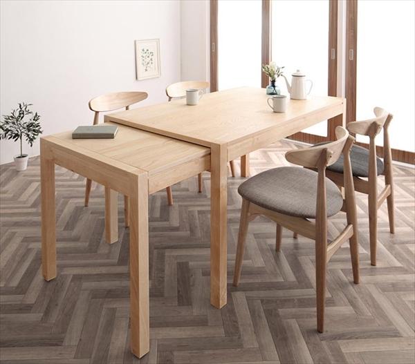期間限定 北欧デザイン スライド伸縮テーブル ダイニングセット SORA ソラ 5点セット(テーブル+チェア4脚) W135-235   「北欧 天然木 伸縮式テーブル エクステンションダイニング5点セット テーブル 伸縮自在 らくらく」