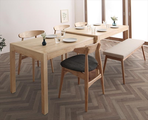 期間限定 北欧デザイン スライド伸縮テーブル ダイニングセット SORA ソラ 6点セット(テーブル+チェア4脚+ベンチ1脚) W135-235  「北欧 天然木 伸縮式テーブル エクステンションダイニング6点セット テーブル 伸縮自在 らくらく」