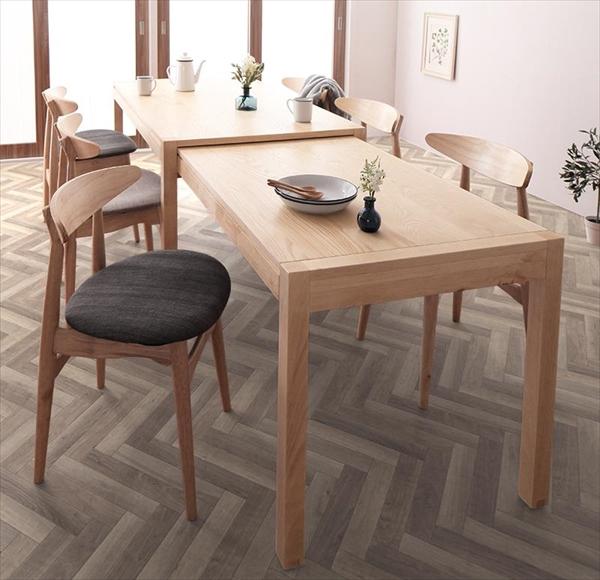 期間限定 北欧デザイン スライド伸縮テーブル ダイニングセット SORA ソラ 7点セット(テーブル+チェア6脚) W135-235  「北欧 天然木 伸縮式テーブル エクステンションダイニング7点セット テーブル 伸縮自在 らくらく」