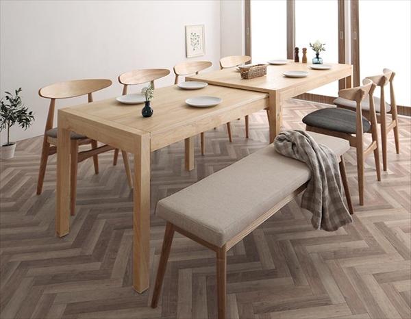 期間限定 北欧デザイン スライド伸縮テーブル ダイニングセット SORA ソラ 8点セット(テーブル+チェア6脚+ベンチ1脚) W135-235 「北欧 天然木 伸縮式テーブル エクステンションダイニング8点セット テーブル 伸縮自在 らくらく」