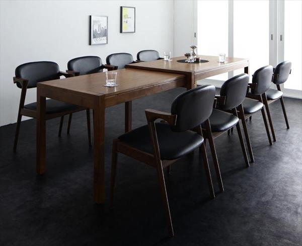 モダンデザイン スライド伸縮テーブル ダイニングセット Jamp ジャンプ 9点セット(テーブル+チェア8脚) W135-235  「北欧 天然木 伸縮式テーブル エクステンションダイニング9点セット テーブル 伸縮自在 らくらく チェア PVCレザー」