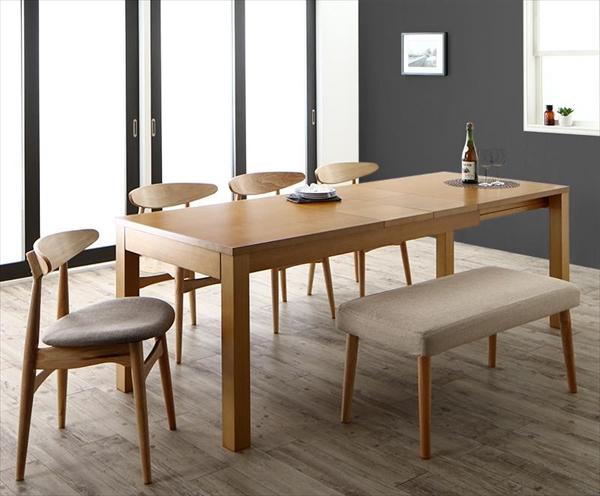 最大205cm 3段階伸縮 ワイドサイズデザイン ダイニング BELONG ビロング 6点セット(テーブル+チェア4脚+ベンチ1脚) W145-205  「ダイニング6点セット エクステンションテーブル 伸縮テーブル ラクラク ハイバックチェア ベンチ いす 」