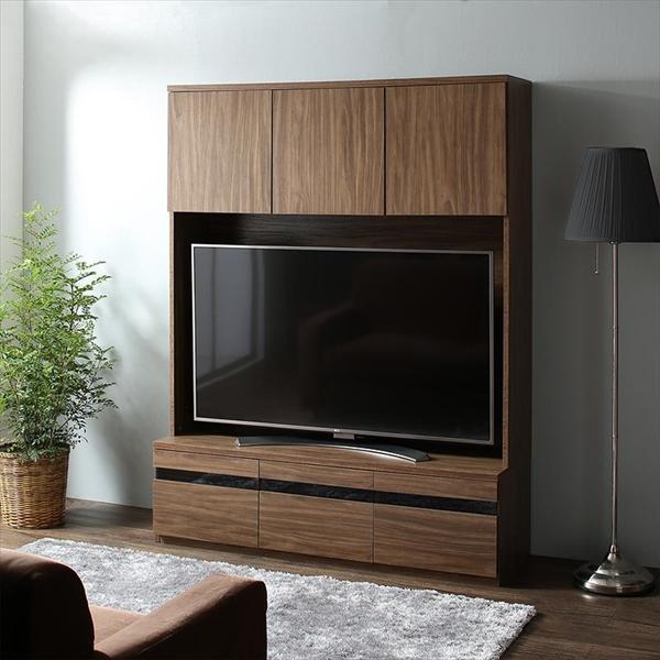 ハイタイプテレビボードシリーズ Glass line グラスライン テレビボード 幅140 55v型テレビ対応 「家具 インテリア収納 ハイタイプ TVボード テレビ台 収納力抜群 多彩な4つの収納エリア ウォルナットブラウン」