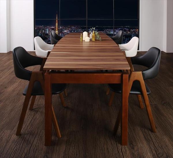 期間限定 北欧テイスト 天然木ウォールナット材 伸縮ダイニングセット Aurora オーロラ 7点セット(テーブル+チェア6脚) W140-240  「ダイニング7点セット 北欧モダンデザイン テーブル エクステンションテーブル スライド式 簡単伸縮テーブル チェア6脚入り」