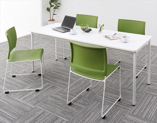 多彩な組み合わせに対応できる 多目的オフィスワークテーブルセット ISSUERE イシューレ 5点セット(テーブル+チェア4脚) W180 「オフィス家具 オフィスセット 万能セット 多目的テーブル スタッキングチェア 法人 医療 学習 ダイニングセット」