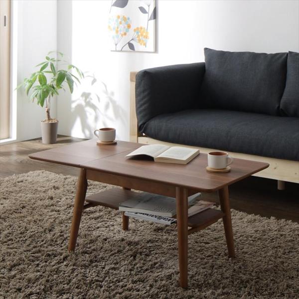 16色から選べる 伸縮・伸長式北欧天然木すのこソファベッド Exii エグジー テーブル W60-90 伸縮・伸長式ウォールナット材テーブル ナイトテーブル 2段構造