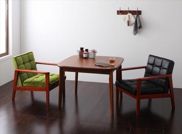 ソファ&ダイニングセット DARNEY ダーニー 3点セット(テーブル+1Pソファ2脚) W90 Bタイプ  ダイニング3点セット テーブル 天然木 木目 美しい ウォールナット材 丸み シンブル ソファ2脚 1人掛け