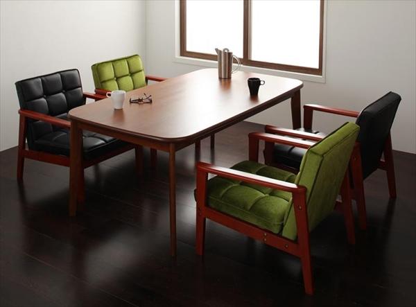 ソファ&ダイニングセット DARNEY ダーニー 5点セット(テーブル+1Pソファ4脚) W160 Gタイプ  ダイニング5点セット テーブル 天然木 木目 美しい ウォールナット材 丸み シンブル 1Pソファ4脚