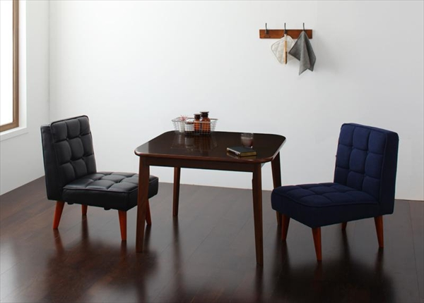 ソファ&ダイニングセット DARVY ダーヴィ 3点セット(テーブル+チェア2脚) W90 Aタイプ  ダイニング3点セット テーブル 天然木 木目 美しい ウォールナット材 丸み シンブル チェア2脚 バイキャストブラック PVC(合成皮革)