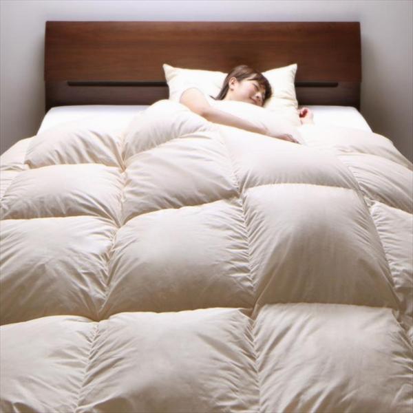 DOWNPASS認証 フランス産ホワイトダックダウンエクセルゴールドラベル羽毛掛布団 ダブル  「寝具 羽毛布団 ダブル ふかふか 日本製 3年保証」