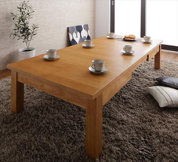 【200円OFFクーポン発行】 天然木オーク材伸長式こたつテーブル Widen-α ワイデンアルファ 長方形(80×120~180cm) 「 こたつテーブル 長方形 継脚 3段階伸長式×こたつテーブル リビングテーブルとしても」