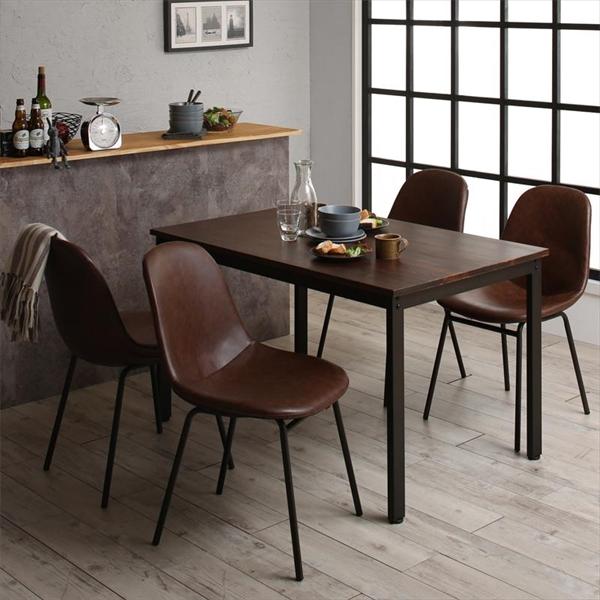 天然木パイン無垢材ヴィンテージデザインダイニング Liage リアージュ 5点セット(テーブル+チェア4脚) W120   「天然木 パイン材 ダイニング5点セット ダイニングテーブル デザインチェア レザータイプチェア いす 異素材ミックス」