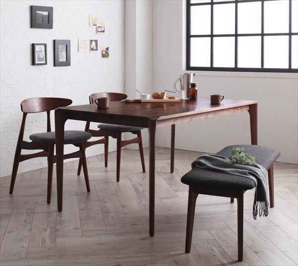 北欧デザイナーズダイニングセット Spremate シュプリメイト 4点セット(テーブル+チェア2脚+ベンチ1脚) W150  「ダイニング4点セット 天然木 木目 ダイニングテーブル チェア ベンチ いす」