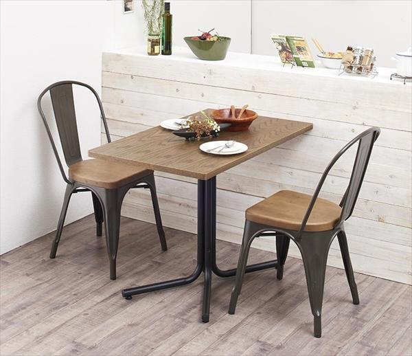 ヴィンテージカフェスタイルソファダイニング 【Towne】 タウン 3点セット(テーブル+チェア2脚) スチールチェア W100  リビングダイニングセット テーブルW100 チェア 椅子