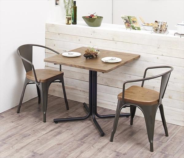 ヴィンテージカフェスタイルソファダイニング 【Towne】 タウン 3点セット(テーブル+チェア2脚) アームチェア W75 リビングダイニングセット テーブルW75 チェア 椅子