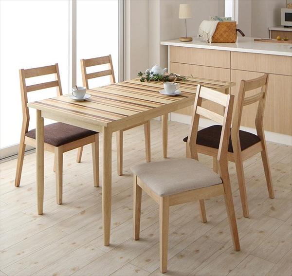連結 分割 レイアウト自由自在 天然木ダイニングセット Folder フォルダー 5点セット(テーブル+チェア4脚) W140  ダイニング5点セット テーブルW140 天然木 連結 分割 チェア 椅子
