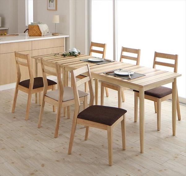 連結 分割 レイアウト自由自在 天然木ダイニングセット Folder フォルダー 8点セット(テーブル+チェア6脚) W70+W140  ダイニング8点セット テーブルW70 テーブルW140 天然木 連結 分割 チェア 椅子