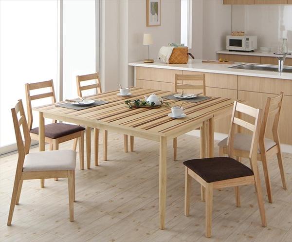 連結 分割 レイアウト自由自在 天然木ダイニングセット Folder フォルダー 8点セット(テーブル+チェア6脚) W140+W140  ダイニング8点セット テーブルW140×2 天然木 連結 分割 チェア 椅子