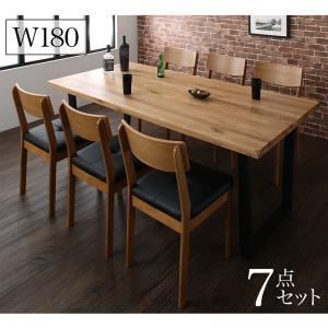 オーク無垢材ヴィンテージデザインワイドサイズダイニング Lepus レプス 7点セット(テーブル+チェア6脚) W180  「天然木 オーク無垢材 ダイニング7点セット ダイニングテーブル チェア PVCレザー いす」