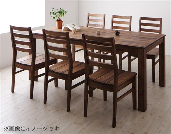 総無垢材ダイニング Tempus テンプス 7点セット(テーブル+チェア6脚) ウォールナット 板座 W180  テーブルW180 チェア板座6脚  北欧 天然木 美しい 木目 ダイニング7点セット