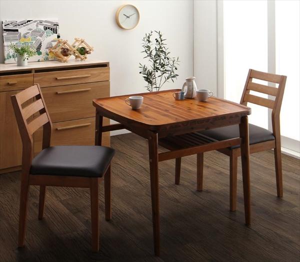 天然木モダンデザインダイニング alchemy アルケミー 3点セット(テーブル+チェア2脚) W80 「天然木 アカシア材 北欧 棚付きテーブル 木目 チェア いす」