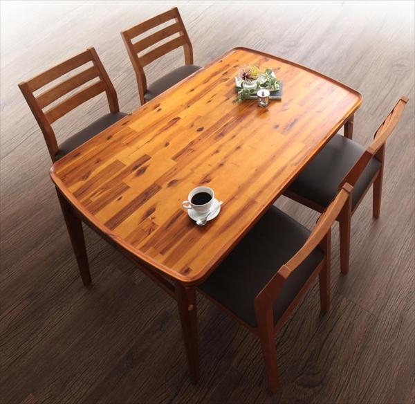 天然木モダンデザインダイニング alchemy アルケミー 5点セット(テーブル+チェア4脚) W120  「天然木 アカシア材 北欧 棚付きテーブル 木目 チェア いす」