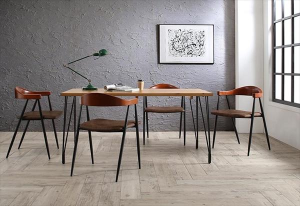 ヴィンテージ インダストリアルデザイン ダイニング Almont オルモント 5点セット(テーブル+チェア4脚) W150  「天然木 パイン材 ダイニング5点セット ダイニングテーブル デザインチェア チェア いす 異素材MIX」