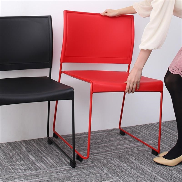ミーティングテーブル&スタッキングチェアセット Sylvio シルビオ オフィスチェア 2脚組  「オフィス家具 スタッキングチェア ダイニングチェア」