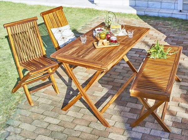 チーク天然木 折りたたみ式ベンチタイプガーデンファニチャー Nobilis ノビリス 4点セット(テーブル+チェア2脚+ベンチ1脚) W120 ガーデン家具