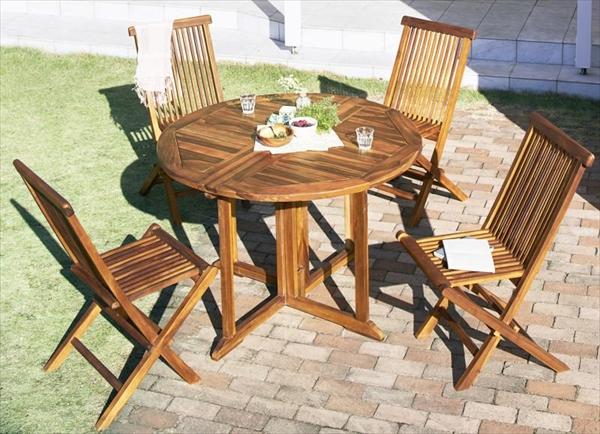 チーク天然木 ワイドラウンドテーブルガーデンファニチャー Abelia アベリア 5点セット(テーブル+チェア4脚) チェア肘無 W110  カーデン家具 折りたたみ コンパクト収納 丸いデザイン 高級木材 おしゃれ カフェ 庭 テラス 北欧