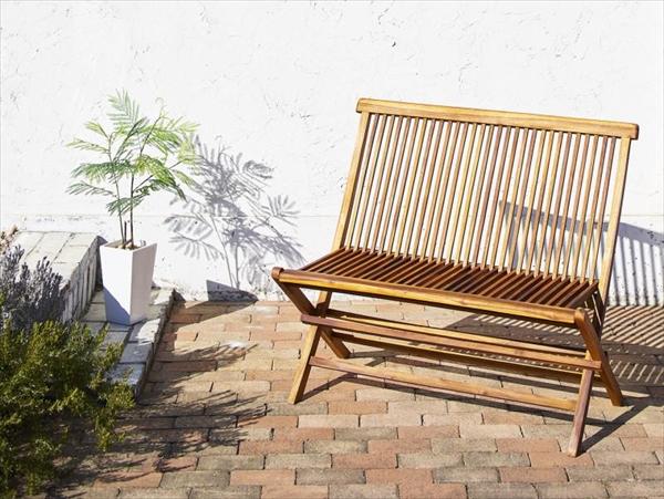 チーク天然木 ワイドラウンドテーブルガーデンファニチャー Abelia アベリア 背付ベンチ 2P  カーデン家具 椅子 いす 折りたたみ コンパクト収納 高級木材 おしゃれ カフェ 庭 テラス 北欧