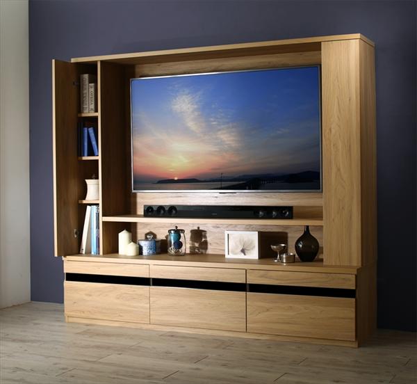 壁掛け機能付きハイタイプTVボード IVORQUE イヴォーク 「大型TV対応 55V型まで ハイタイプTV テレビ台 TVボード 収納力抜群 デッキエリアカバー+リモコン操作可 美しい木目」