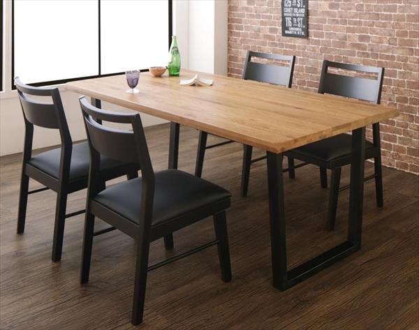 オーク無垢材ヴィンテージデザインダイニング Coups クプス 5点セット(テーブル+チェア4脚) W180  「天然木 オーク無垢材 ダイニング5点セット ダイニングテーブル チェア ブラックレザー いす」