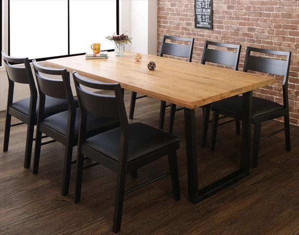 オーク無垢材ヴィンテージデザインダイニング Coups クプス 7点セット(テーブル+チェア6脚) W180  「天然木 オーク無垢材 ダイニング7点セット ダイニングテーブル チェア ブラックレザー いす」
