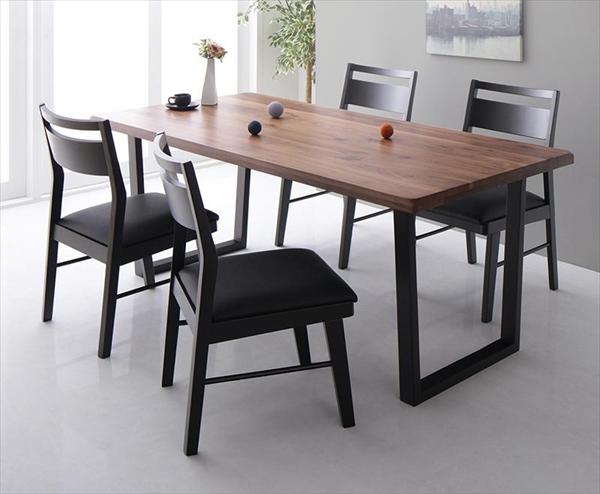 ウォールナット無垢材モダンデザインダイニング Jisoo ジス 5点セット(テーブル+チェア4脚) W180  「天然木 ウォールナット無垢材 ダイニング5点セット ダイニングテーブル チェア ブラックレザー いす」