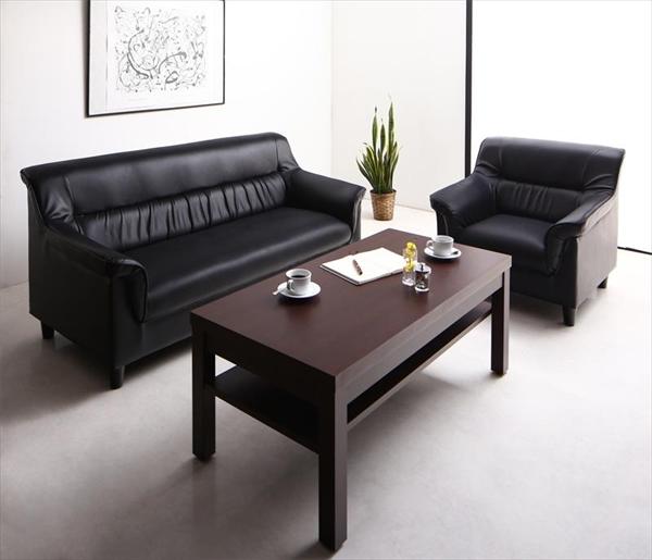期間限定 条件や目的に応じて選べる 重厚デザイン応接ソファセット Office Road オフィスロード ソファ2点&テーブル 3点セット 1P+2P  「家具 インテリア ソファーセット 合皮 2人掛け 1人掛け ソファ オフィスロード リビング 北欧 センターテーブル付き」