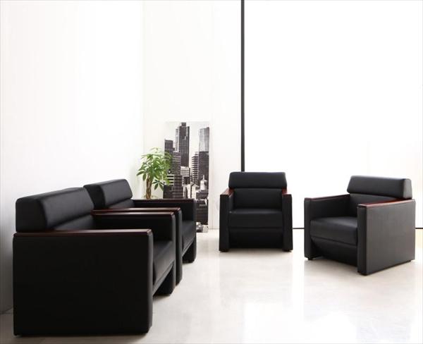 期間限定 条件や目的に応じて選べる高級木肘デザイン応接ソファセット Office Grade オフィスグレード ソファ4点セット 1P×4  「家具 インテリア ソファーセット 合皮 1人掛け ソファ オフィスロード リビング 北欧 」