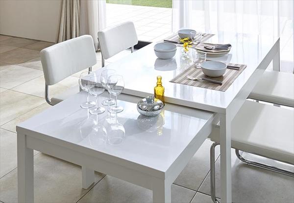 鏡面仕上げ スライド伸縮テーブルアーバンモダンデザインダイニングセット Lubey リュベ ダイニングテーブル W135-235  「家具 大型天板テーブル UV鏡面塗装 エクステンションテーブル 伸縮自由自在」