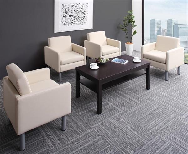 コンパクト応接ソファ&テーブルセット PARTITA パルティータ ソファ4点&テーブル 5点セット 1P×4「オフィス家具 応接セット ソファーセット 合皮 1人掛け リビング テーブル付き」