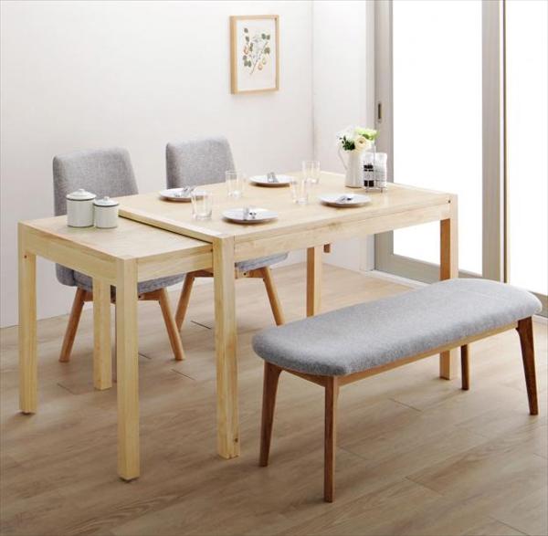 回転イス付き 北欧スライド伸縮ダイニングテーブルセット Joseph ヨセフ 4点セット(テーブル+チェア2脚+ベンチ1脚) W120-200 「天然木 木目 美しい 伸長式テーブル 立ち座りしやすい回転イス ベンチ」