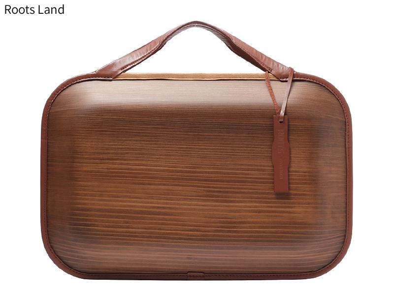 日本製 木製バッグ monacca Roots ビジネスバッグ メンズ ブランド 本革 ダブルファスナー 2way ブリーフケース ブリーフバッグ ショルダーバッグ B4サイズ ビジネスバック ショルダーバック カジュアル おしゃれ 本革 男性 紳士 ランド ブラウン 茶