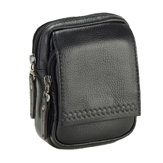 Cowhide Leather Vertical Pouch Small Size For Compact Waist Bag Gadget Case Mens Gentlemen Men Bags And