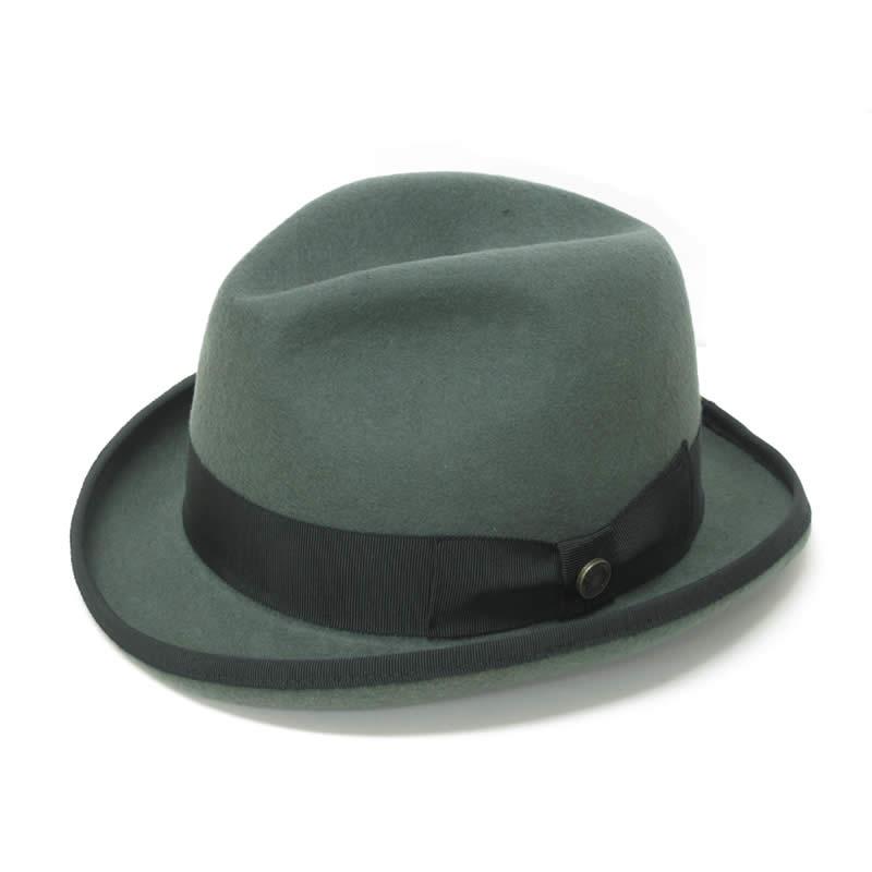 日本製 中折れハット メンズ 中折れ帽 中折れ 帽子 毛 ウールフェルト ホンブルグハット(グレー) GARYU PLANET ガリュープラネット メンズ・紳士 男性用 女性 男女兼用 帽子 ★