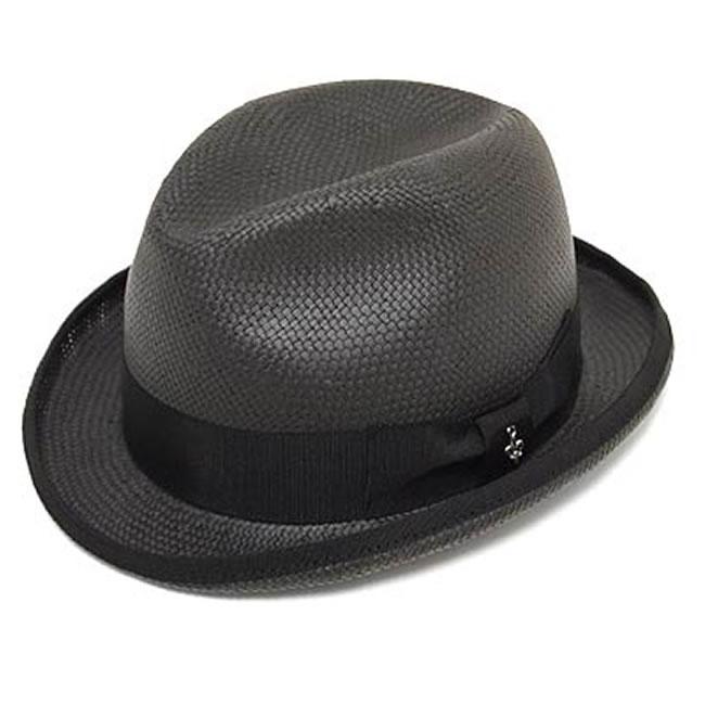 日本製 ストローハット パナマハット パナマ帽 ぺーパーパナマホンブルグハット(ブラック)GARYU PLANET ガリュープラネット 国産 メンズ・紳士 男性用 帽子 ハット